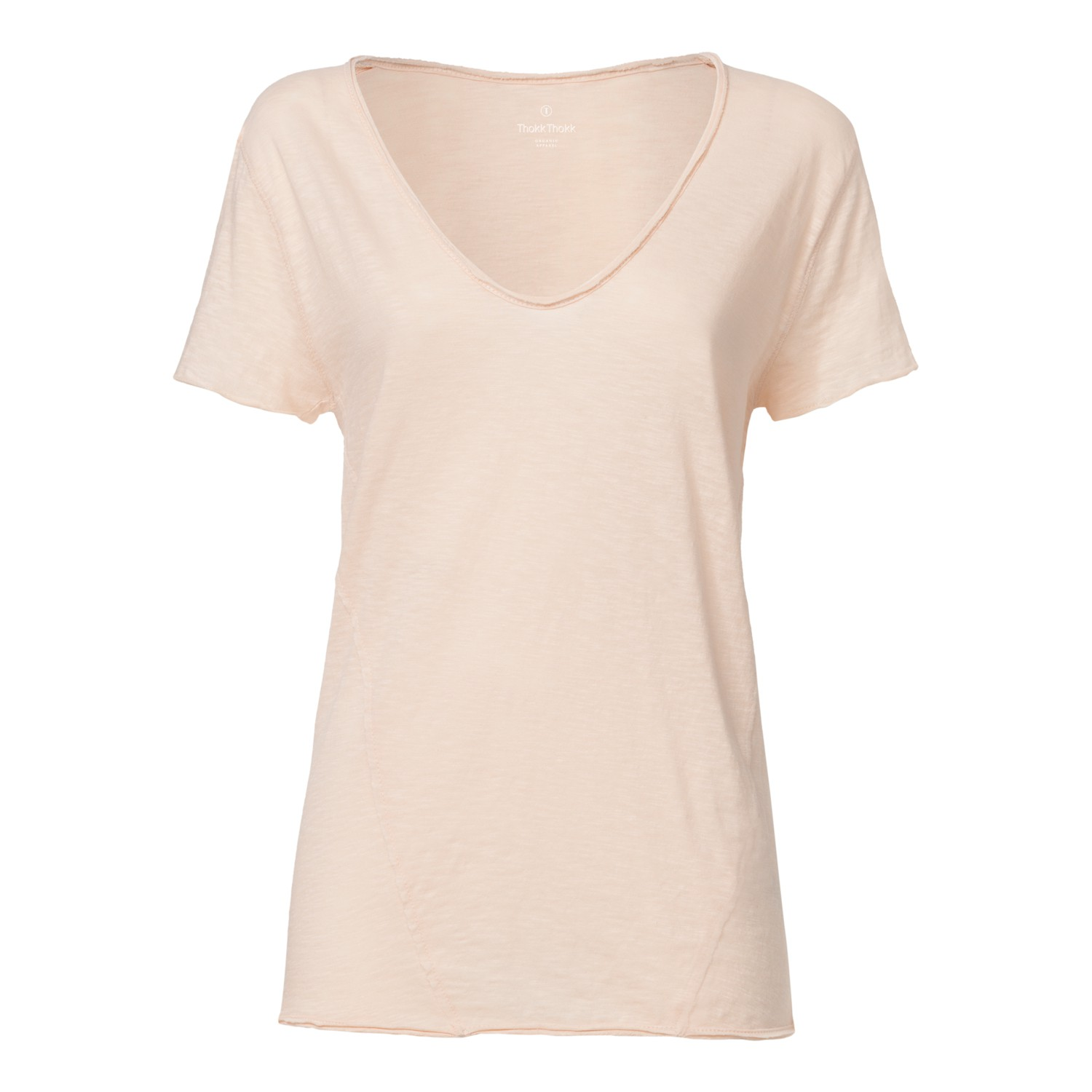 ThokkThokk Damen Raw Edged V-Neck T-Shirt Pale ...