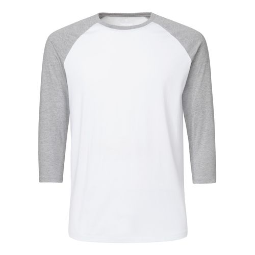 ThokkThokk Unisex Baseball-T-Shirt White/Heather Grey Bio & Fair