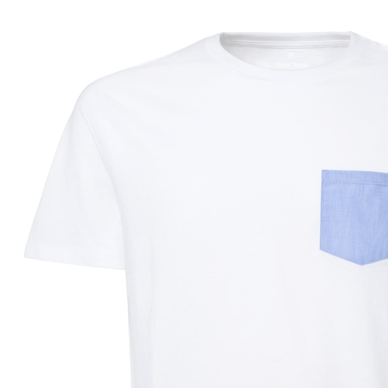 Man T-Shirt Pocket White Blue Fil-à-Fil Bio   Fair CO-OPS ThokkThokk ... 4209f036bc3e
