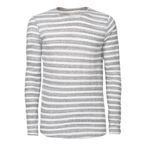 ThokkThokk Herren Longsleeve Gestreift White/Slub Heather Grey Bio & Fair
