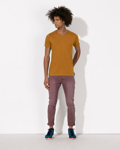 ThokkThokk Herren Raw Edged Pocket T-Shirt Sudan Brown Bio & Fair