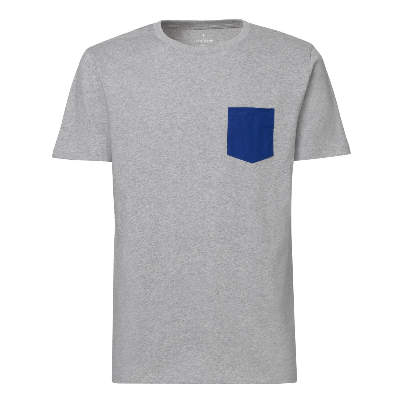 Man t shirt pocket heather grey deep royal blue bio fair for Pocket tee shirts for womens