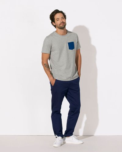 ThokkThokk Herren T-Shirt Pocket Heather Grey/Deep Royal Blue Bio & Fair