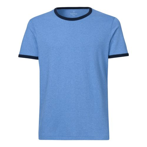 ThokkThokk Herren Ringer T-Shirt Mid Heather Blue/Navy Bio & Fair