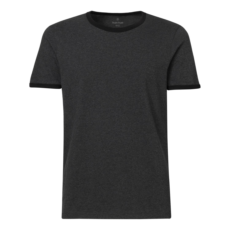 ThokkThokk Herren Ringer T-Shirt Dark Heather G...