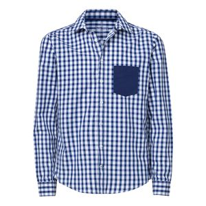 ThokkThokk Herren Hemd Pocket White Blue Check/Mid Navy Bio & Fair