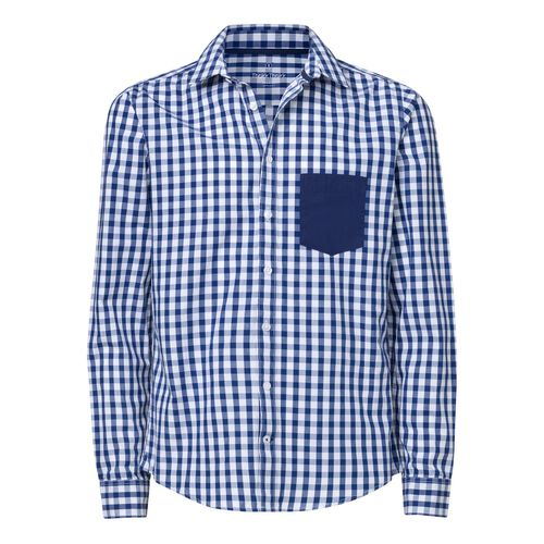 ThokkThokk Man Shirt Pocket White Blue Check/Mid Navy Bio & Fair