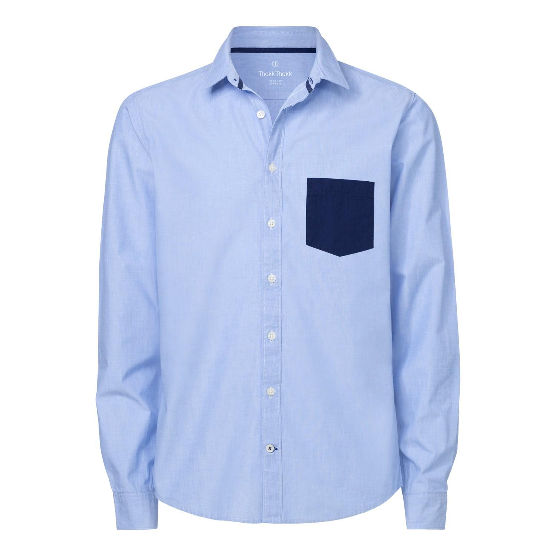 ThokkThokk Herren Hemd Pocket Blue Fil-à-Fil/M...