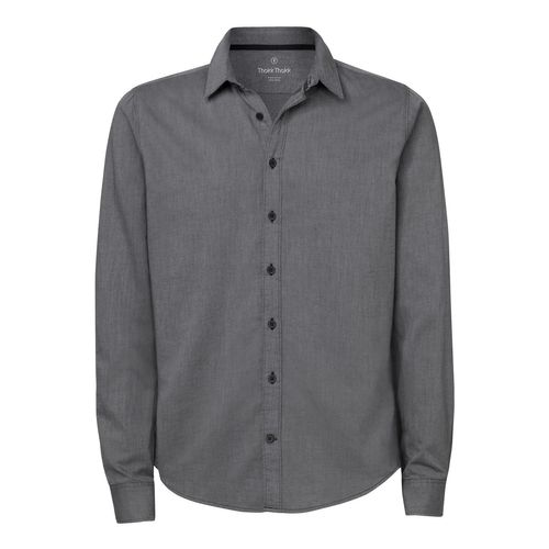ThokkThokk Man Casual Shirt Mid Heather Grey Twill Bio & Fair