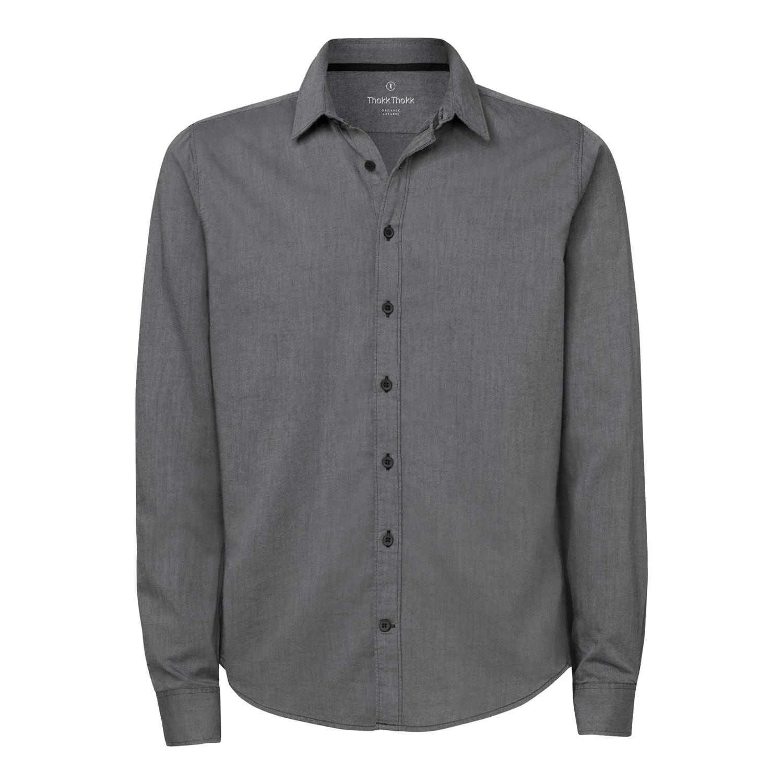Man Casual Shirt Mid Heather Grey Twill Bio Fair
