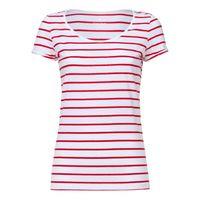 Damen T-Shirt Gestreift White/Deep Red Bio & Fair