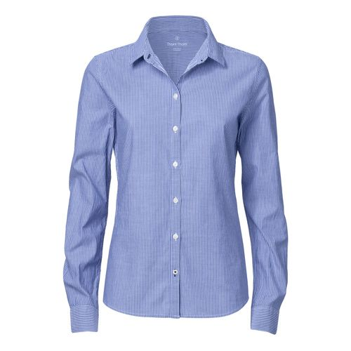 ThokkThokk Woman Casual Shirt Blue Fil-à-Fil Bio & Fair