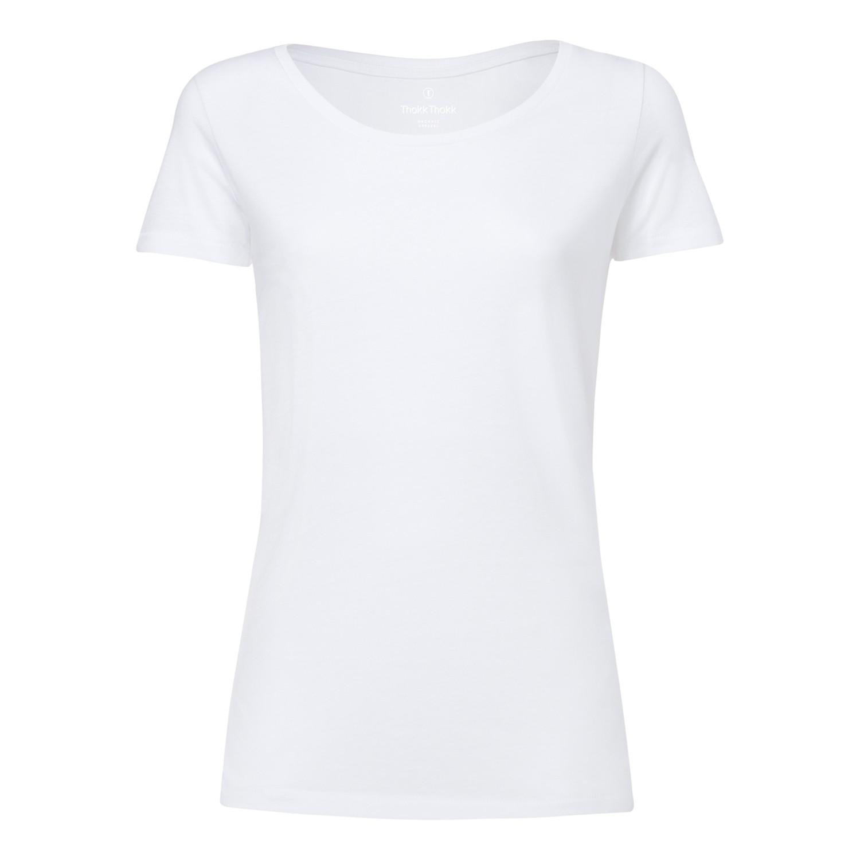 ThokkThokk Damen Modal Rundhals T-Shirt White Fair
