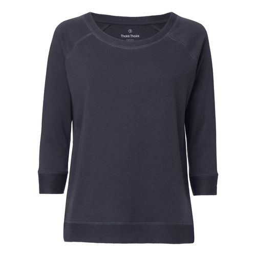 ThokkThokk Damen 3/4 Tencel Sweatshirt India Ink Grey Bio & Fair