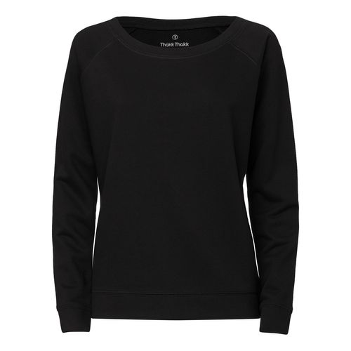 ThokkThokk Woman Wide Neck Sweatshirt Black made of organic cotton // Bio and Fair