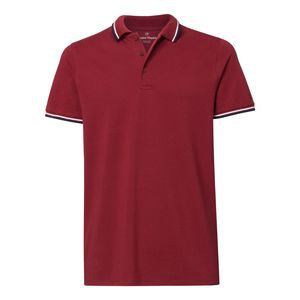 ThokkThokk Man Striped Poloshirt Burgundy/White/French Navy Bio & Fair