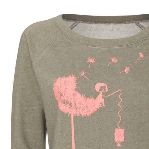 FellHerz Pusteblume Wide Neck Sweater coral/heather khaki