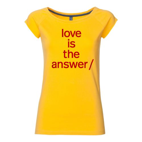 Süpergrüp Love is the answer Cap Sleeve T-Shirt Damen rot/gelb aus Biobaumwolle hergestellt // Bio & Fair