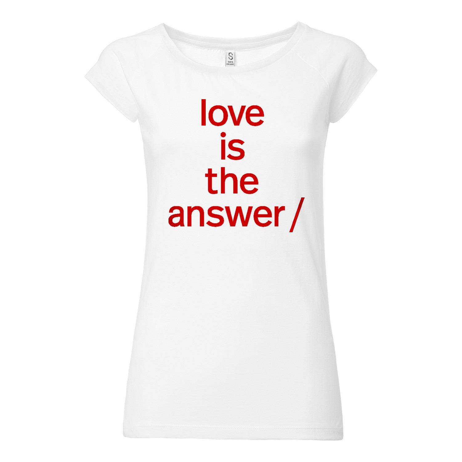Süpergrüp Love is the answer Cap Sleeve white Organic & Fair