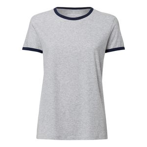 ThokkThokk Woman Roundneck T-Shirt Navy/Mid Heather Grey made of 100% organic cotton // Organic and Fair