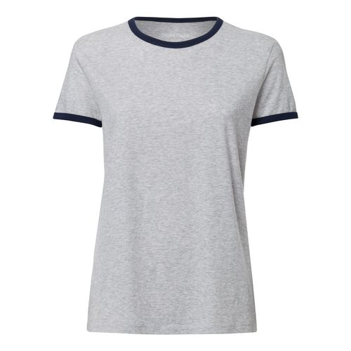 ThokkThokk Woman Roundneck T-Shirt Heather Grey/French Navy made of 100% organic cotton // Organic and Fair