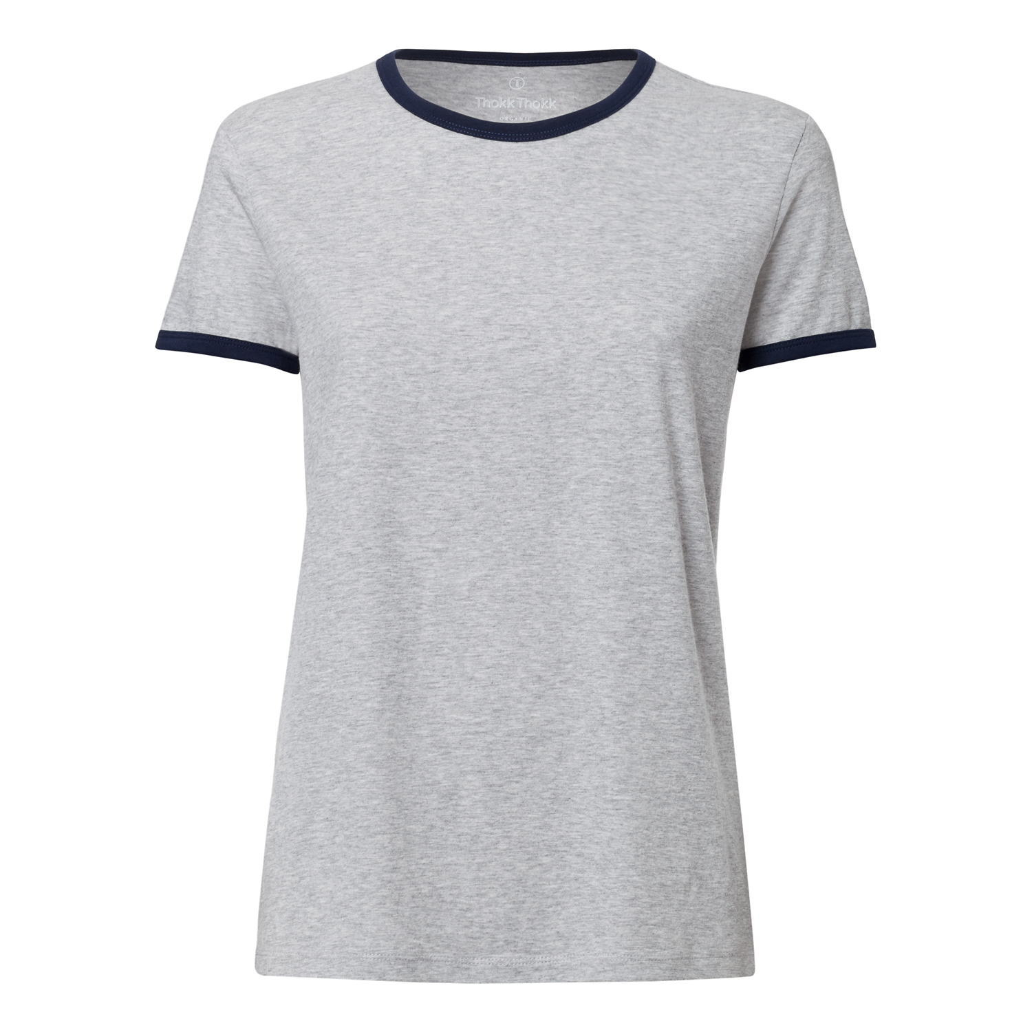 Damen Ringer T-Shirt Heather Grey/French Navy Bio & Fair