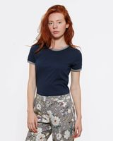 Bild 2 - Woman Roundneck T-Shirt Navy/Mid Heather Grey Organic & Fair