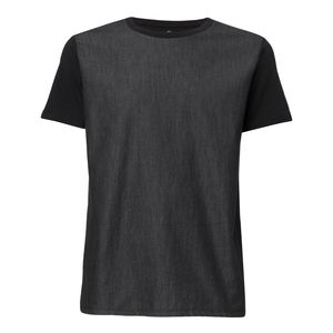 ThokkThokk Man Round Neck Denim T-Shirt Black Denim/Black made of 100% organic cotton // Organic and Fair