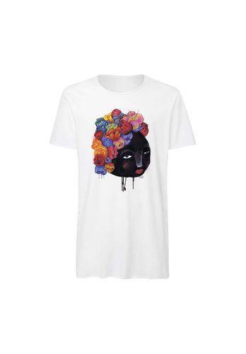 Yackfou Herren T-Shirt Blumenhaar Weiß Bio Fair