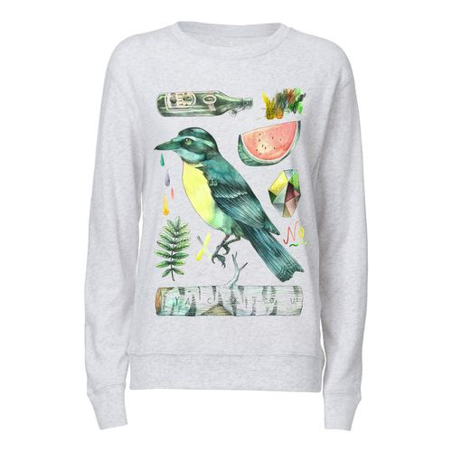 Yackfou Kolibri Round Neck Sweatshirt heather ash made of 100% organic cotton // Organic and Fair