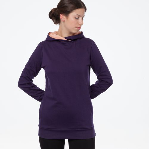 ThokkThokk TT1026 Cross Hoodie Eggplant Woman made of 100% organic cotton // GOTS and Fairtrade certified