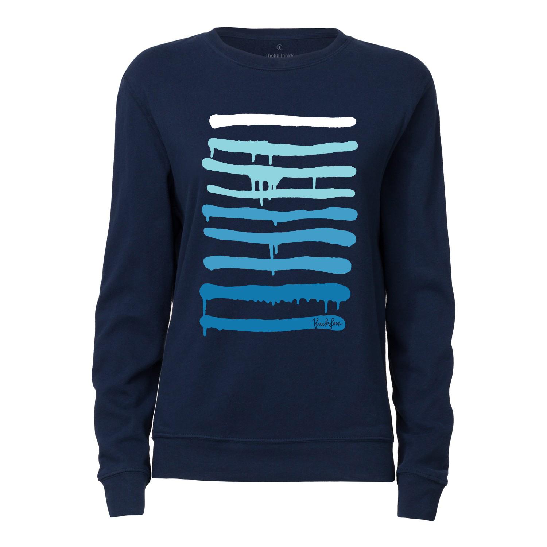 Yackfou Dripline Damen Rundhals Sweatshirt navy Bio & Fair