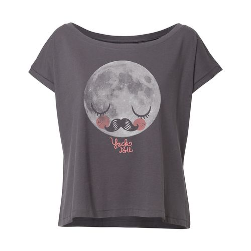 Yackfou Moon Oversized Cropped T-Shirt anthracite made of 100% organic cotton // Organic and Fair