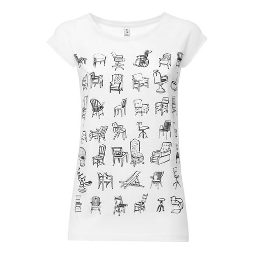 ThokkThokk Damen T-Shirt Chairs Weiß Bio Fair