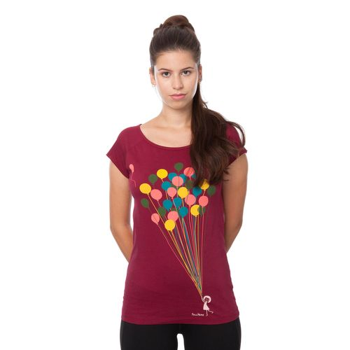 FellHerz Balloons Cap Sleeve T-Shirt Woman red made of organic cotton // Organic and Fair