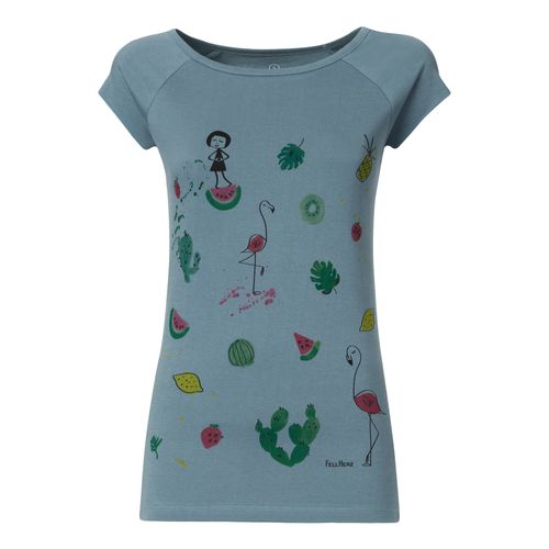 FellHerz Lovely things Cap Sleeve T-Shirt Woman light blue made of organic cotton // Organic and Fair