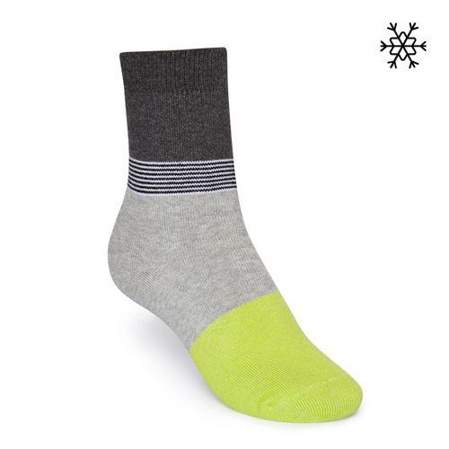 ThokkThokk Plüsch Socken Triple High-Top grau/gestreift/gelb mit Biobaumwolle hergestellt // Bio und Fair