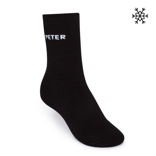 ThokkThokk Plush Socks Peter High-Top black made with organic cotton // Organic and Fair