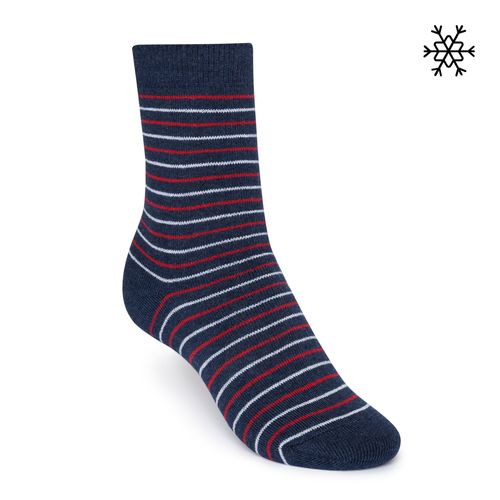 ThokkThokk Plush Socks Striped High-Top blue/red/white made with organic cotton // Organic and Fair