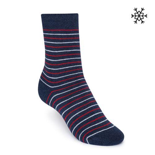 ThokkThokk Plüsch Socken Striped High-Top blau/rot/weiß mit Biobaumwolle hergestellt // Bio und Fair