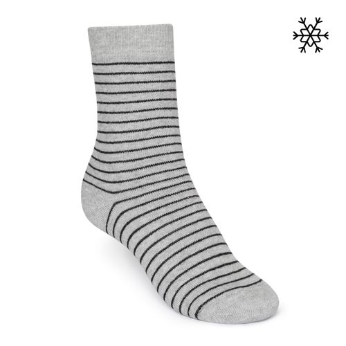 ThokkThokk Socken Striped Plüsch Hellgrau Bio Fair