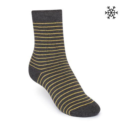 ThokkThokk Plüsch Socken Striped High-Top gelb/dunkelgrau mit Biobaumwolle hergestellt // Bio und Fair