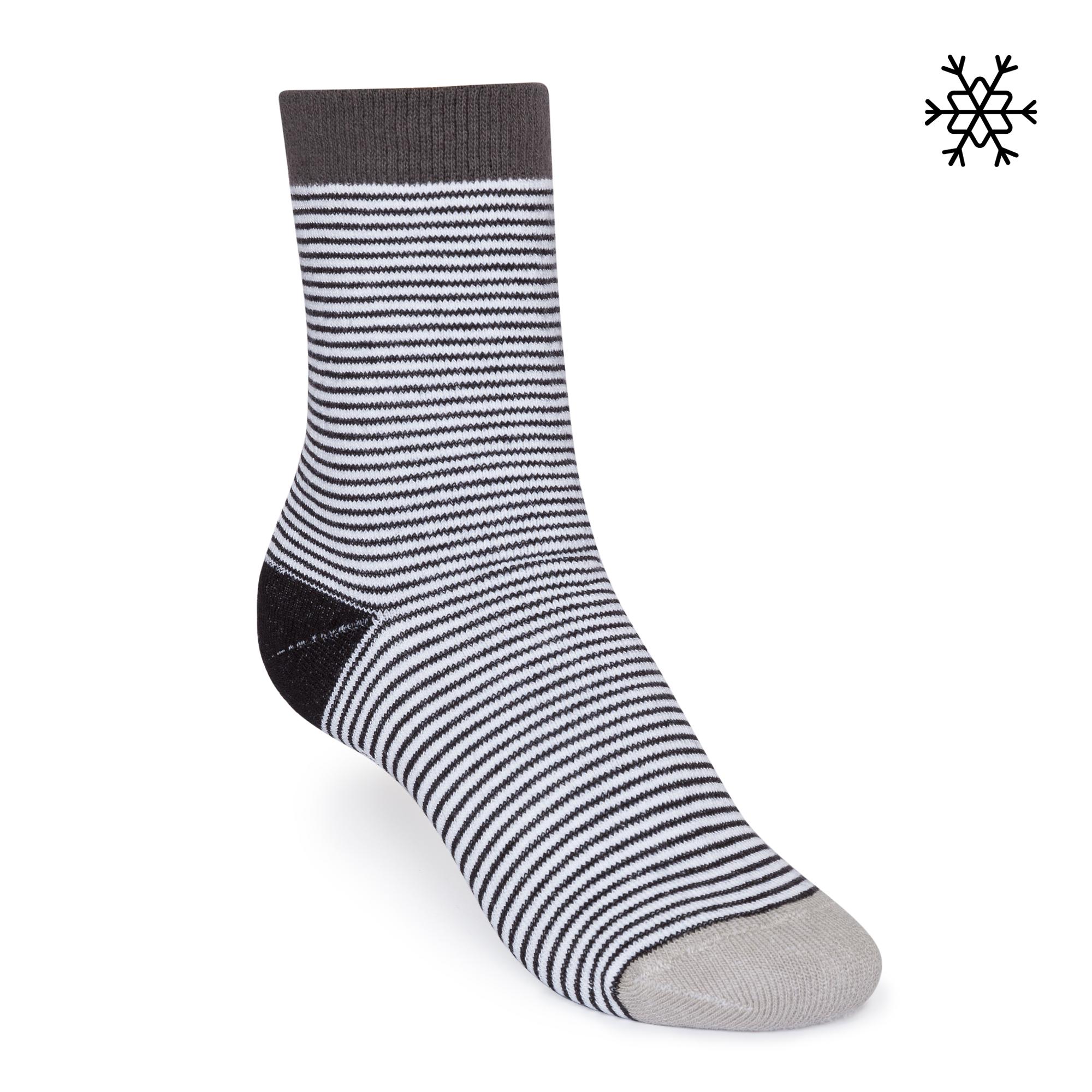 Micro Stripes High-Top Plüsch Socken black/white/melange  Bio & Fair