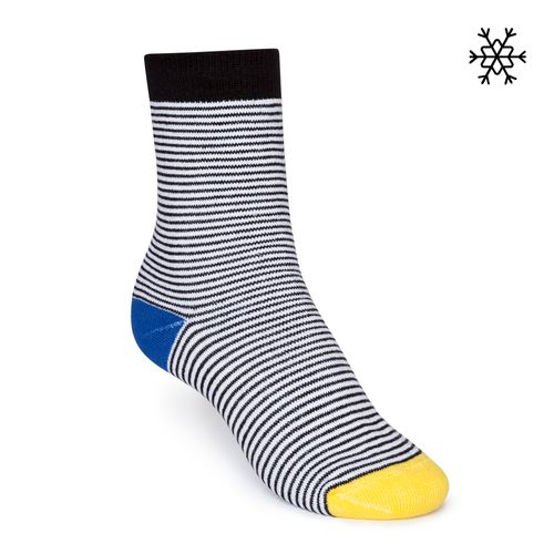 ThokkThokk Plush Socks Micro Stripes High-Top black/white/blue/yellow made with organic cotton // Organic and Fair