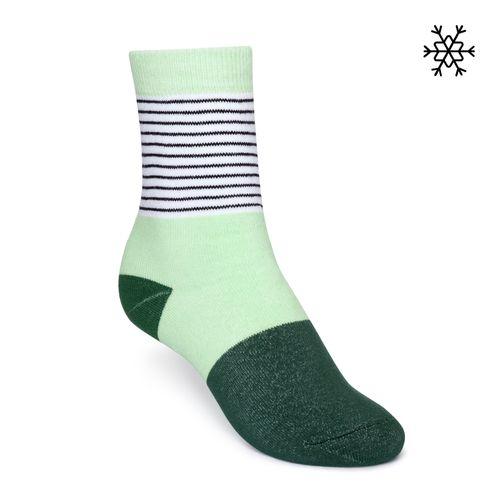 ThokkThokk Socken Micro Stripes Plüsch Grün Bio Fair