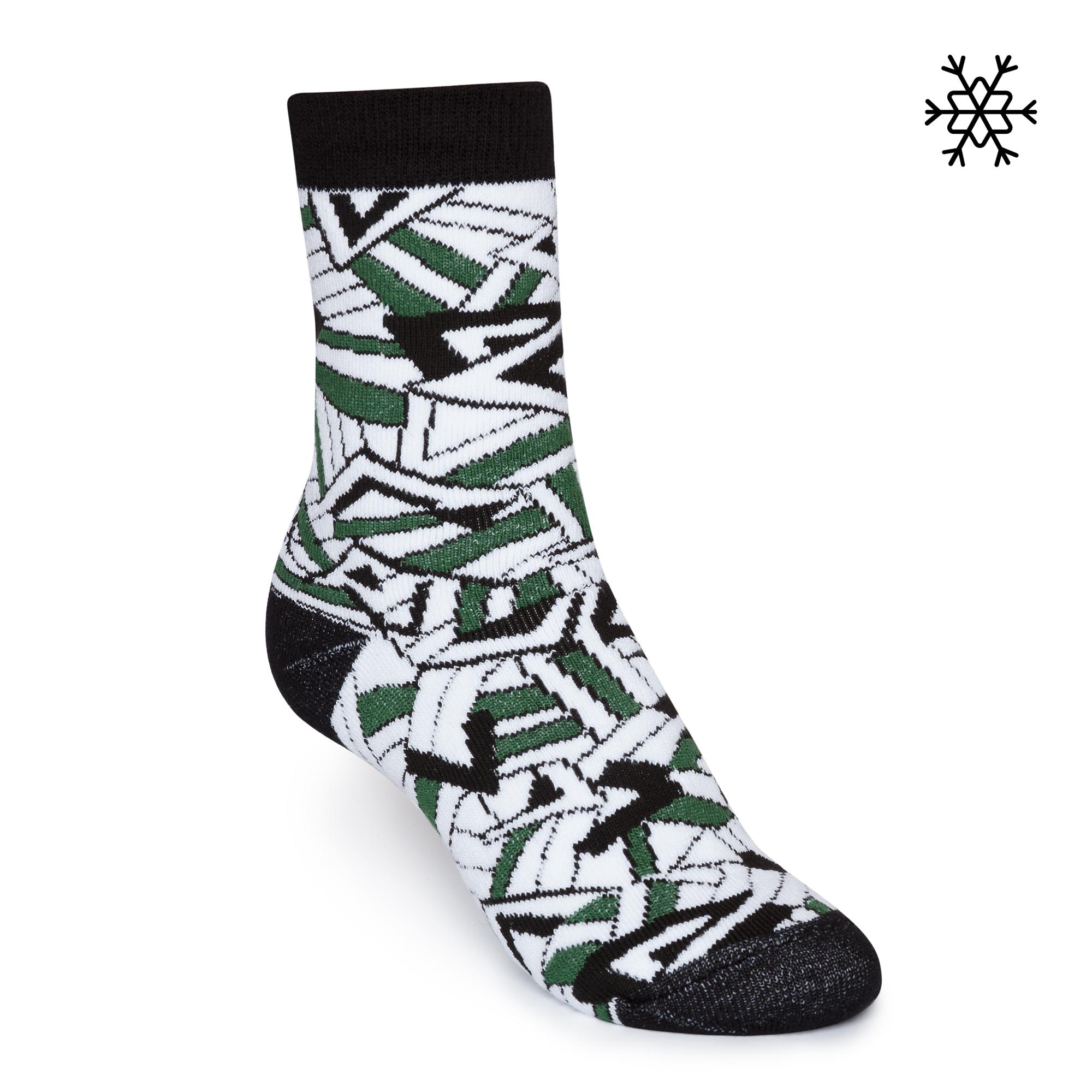 Crystal High-Top Plüsch Socken green/white/black Bio & Fair