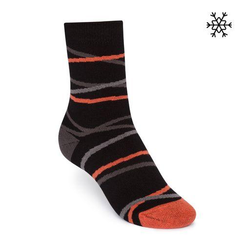 ThokkThokk Plüsch Socken Straps High-Top schwarz/grau/orange mit Biobaumwolle hergestellt // Bio und Fair