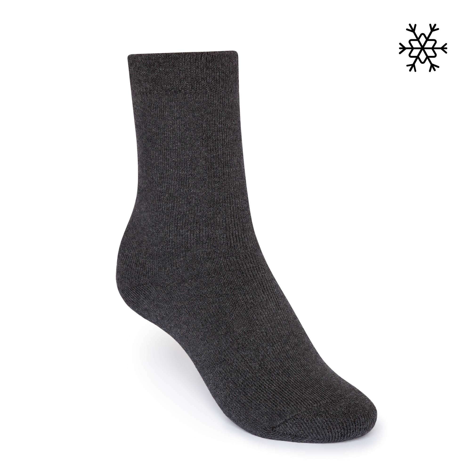 Solid High-Top Plüsch Socken dark grey melange  Bio & Fair
