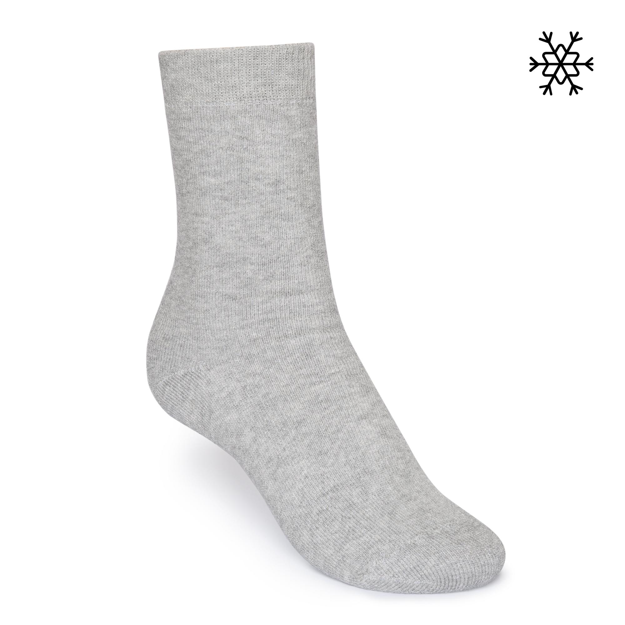 Solid High-Top Plüsch Socken grey melange Bio & Fair