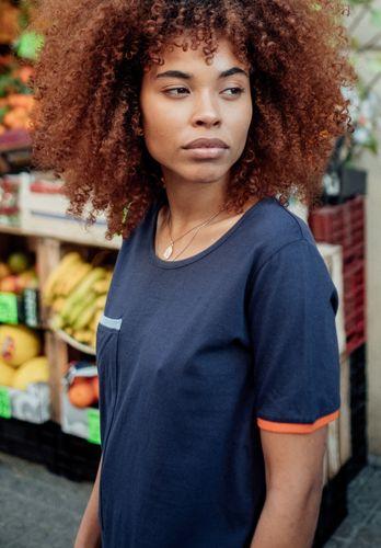 ThokkThokk Pocket TT64 T-Shirt Woman dark blue made of organic cotton // Organic and Fairtrade certified